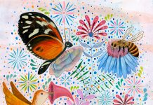 """Poster with drawings of pollinators and text saying """"Protect pollinators"""" (State Dept.)"""