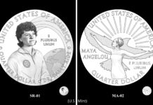Proposed U.S. coin designs showing Sally Ride and Maya Angelou (U.S. Mint)